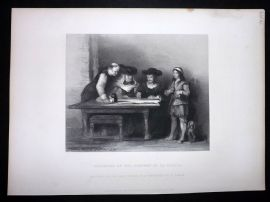 After David Wilkie C1870 Antique Print. Columbus at the Convent of La Rabida